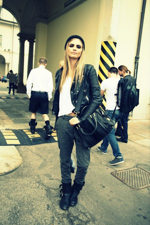 Love Cara Delevigne! Her street style is on point.