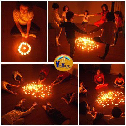 Yoga para niños a la luz de las velas. Kids yoga