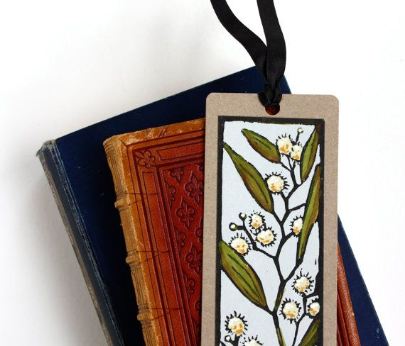Handpainted Lino Print Bookmark - Blackwood - Australian Native Flower