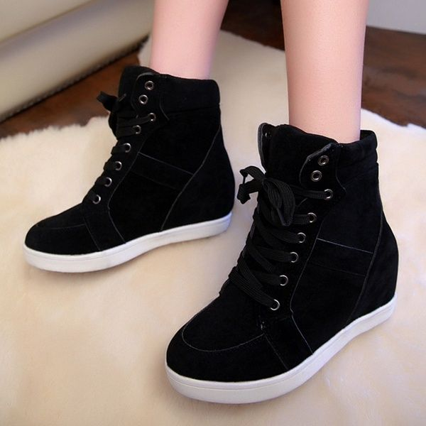 Lady Fashion Wedge Sneakers Spring Short Boots Hidding Heels Black Red Tennis Shoes Wish Em 2020 Sneaker Boots Sapatos Sapato Casual