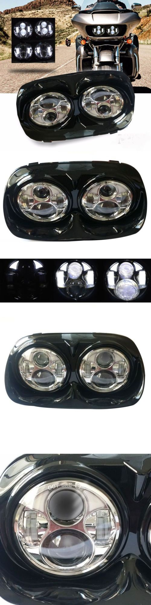 Motorcycle parts led dual headlight chrome for harley road glide motorcycle projector buy it now