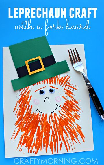 Leprechaun Craft with a Fork Print Beard - Fun st. patricks day craft for kids | CraftyMorning.com