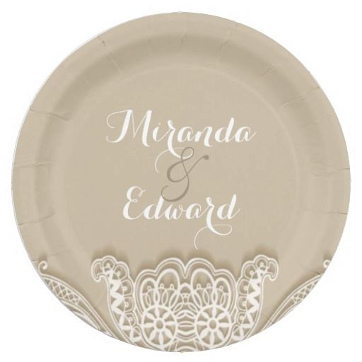 Elegant Simple Lace Wedding Paper Plate