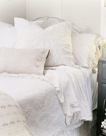 Like all white rooms with variety of patterns and textures of white.
