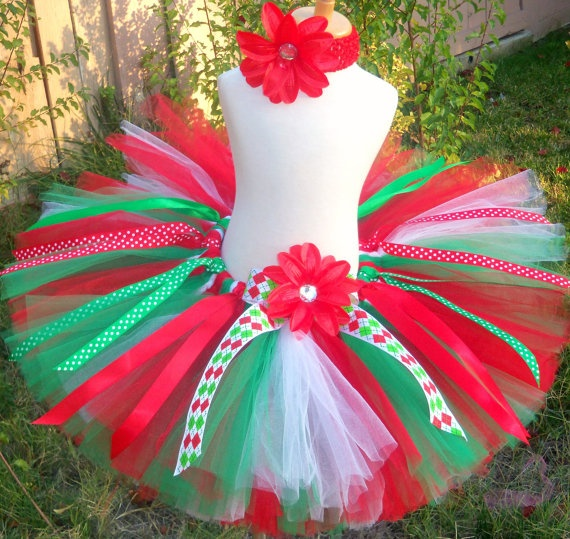 Christmas tutu set custom sewn in sizes up to 6x by sophiastutus, $42.00