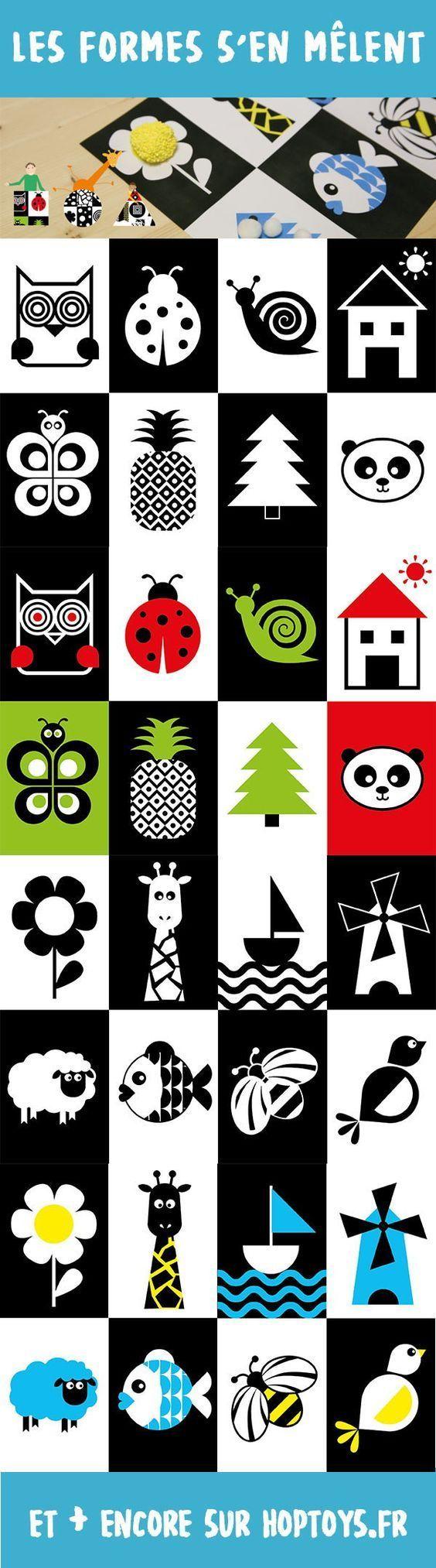 """Kit d'activités """"Les formes s'en mêlent""""Partenaire de La Grande Semaine de la Petite enfance, Hop'Toys a imaginé sur la thématique """"Tout bouge"""" proposée cette année, toute une série d'activités autour de formes contrastées.Retrouver les premiers motifs sur les animaux ou les objets, recouvrir les formes de différentes matières pour une exploration tactile,"""
