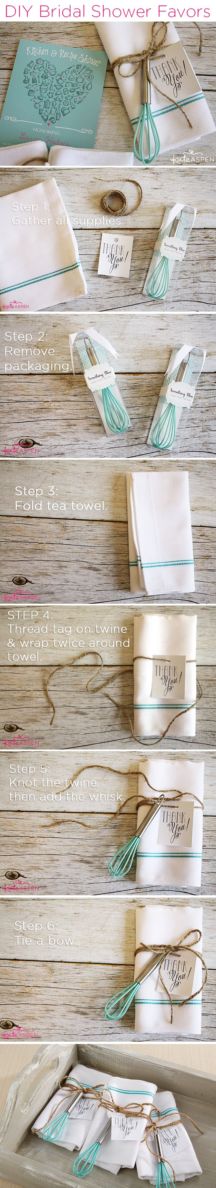 Make a practical and affordable favor that's perfect for a kitchen themed bridal shower! | DIY Bridal Shower Whisk and Tea Towel Favors