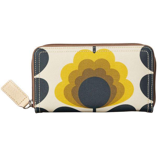Orla Kiely Summer Flower Stem Big Zip Wallet - Sunshine (€80) ❤ liked on Polyvore featuring bags, wallets, yellow, orla kiely wallet, leather zipper wallet, genuine leather wallet, zip wallet and leather card case wallet