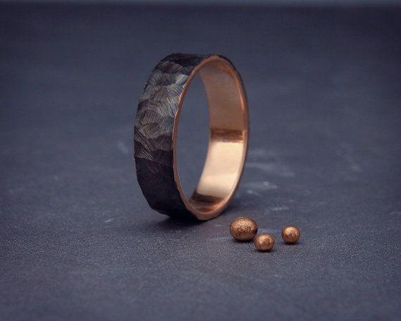 Black 14k Rose Gold Men's wedding ring |Handmade 14k solid rose gold rough faceted men wedding band | 3mm, 4mm, 5mm, 6mm, 7mm