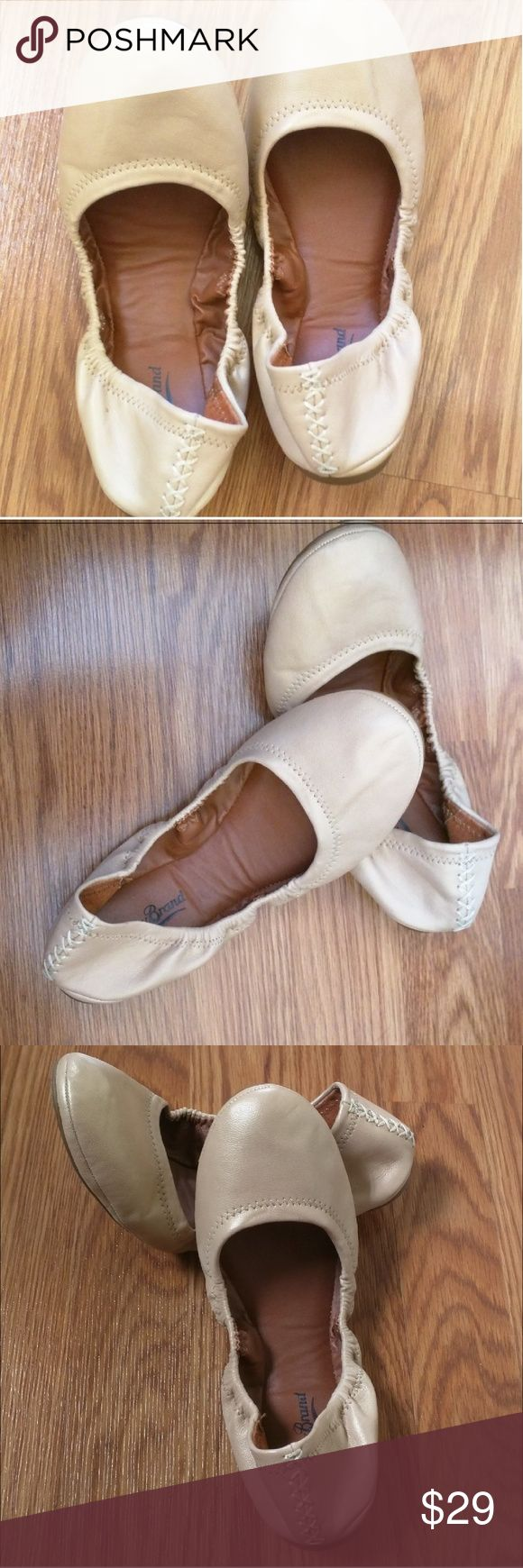Lucky Brand Emmie nude ballet flats Lucky Brand lightweight ballet flats. Super lightweight soft sole, no frills flats. Great neutral color.  Worn once. Sticker tag on bottom says 9 1/2. Lucky Brand Shoes Flats & Loafers