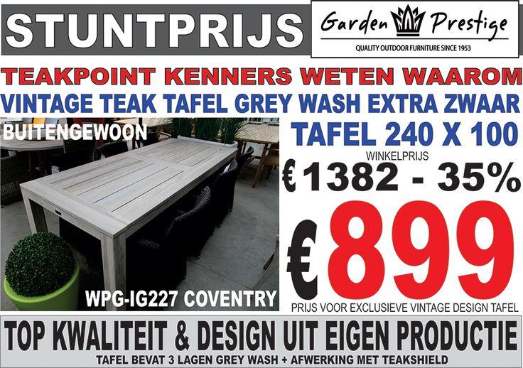vintage tafel teak grey wash 240 x 100 met brede planken. Black Bedroom Furniture Sets. Home Design Ideas