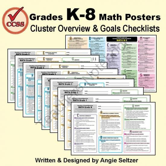 Highly-Rated 10-Poster Set Clarifies Common Core Math K-8! Enter for your chance to win 1 of 10.  Grades K-8 Common Core Math Standards Posters ~ CCSS Overview & Checklists (20 pages) from K-8 MathPaths on TeachersNotebook.com (Ends on on 7-11-2014)  See at-a-glance how to navigate the Common Core State Standards for math! One poster shows all CCSS cluster overviews K-8 with unique letter-shaped icons to help you locate domains easily, even on black-and-white printouts. A poster for each ...