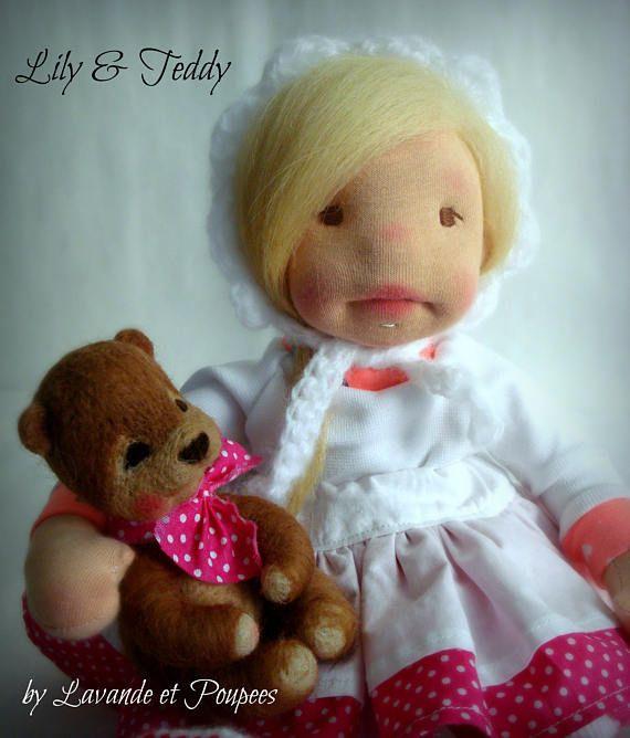 Waldorf Doll Lily&Teddy 14.5 Doll OOAK Doll handmade