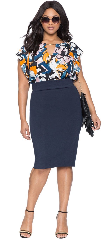 Love!  Plus Size Neoprene Column Skirt