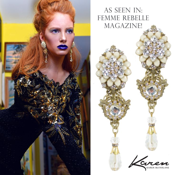 As Seen In: Femme Rebelle Magazine! Earrings (#1050e) by Karen McFarlane Phototography: Katiuska Idrovo Model: Lesley, Plutino Models Make-up: Toru Gallardo Hair: Christine Crook Styling: Felicia Ryan Fashion: Closet Diving For Vintage Finds