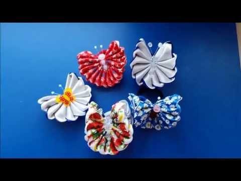 Резиночка из атласных лент БАБОЧКА ЗЕФИРКА Мастер класс. Butterfly of satin ribbons Zefirka kanzashi Gum DIY ***********************************************...
