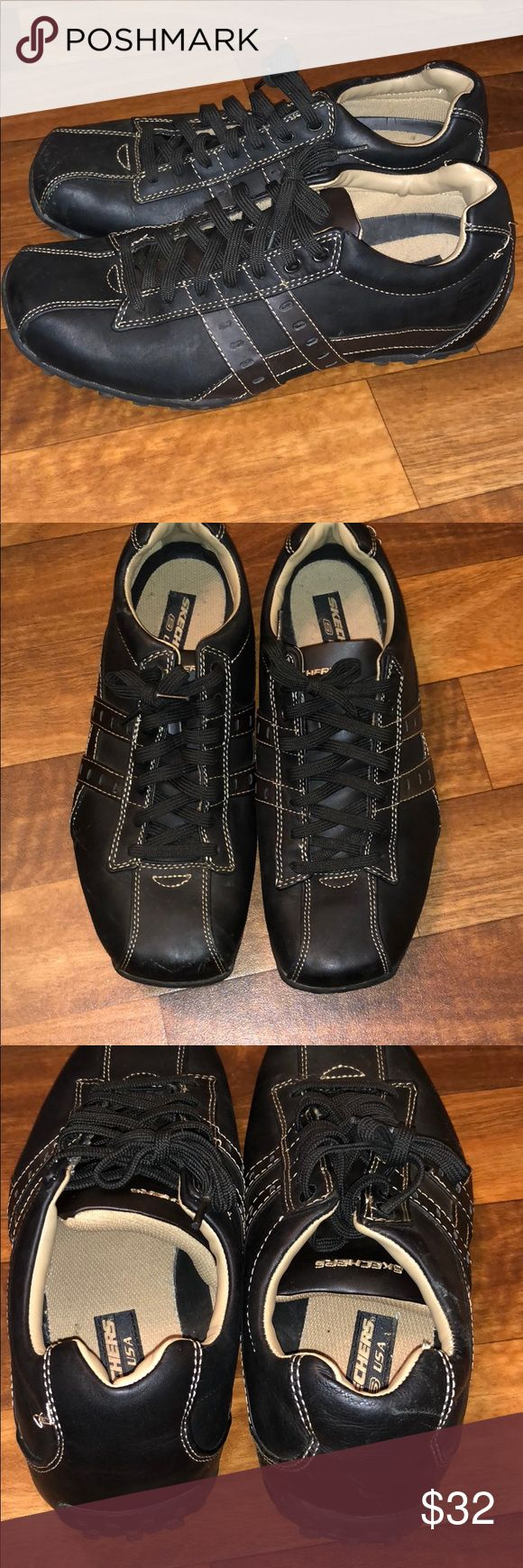 Men's Sketchers Sneakers Black and leather. Worn once. In amazing condition. Couple scuffs in the front from being pulled in the closet with other 👟. Skechers Shoes Sneakers