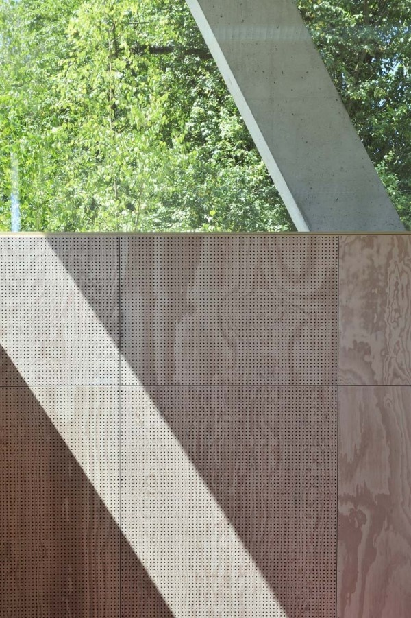 85% perforated plywood boarding: Sport Hall Annex by L3P Architekten (Brüttisellen, Switzerland)