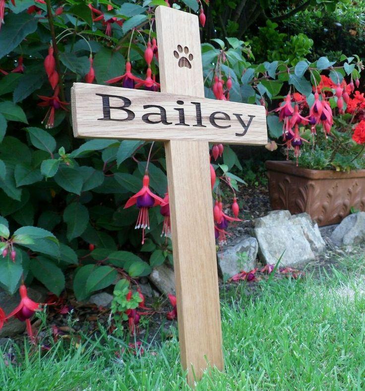 Personalised Pet Memorial 12  Solid Oak Cross  Wood Grave Marker                                                                                                                                                                                 More