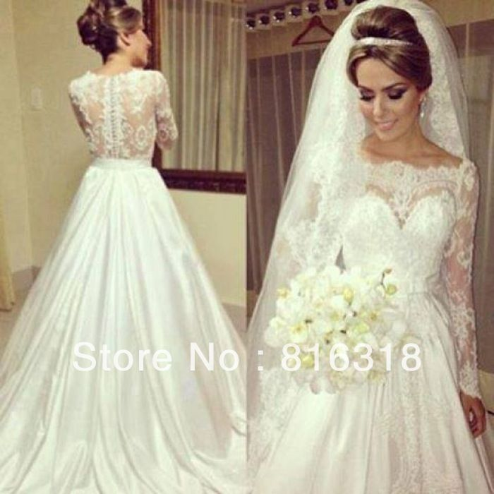 Vestido De Noiva White 2014 Ball Gown Country Lace Wedding Dresses Vintage Lace Long Sleeve Wedding Dress Vestido De Casamento