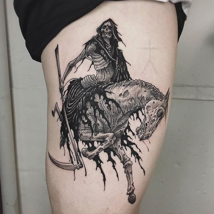 Death On A Pale Horse by @xcjxtattooer who is currently traveling. Visit @xcjxtattooer for upcoming dates and locations. #death #reaper #grimreaper #horse #palehorse #xcjxtattooer #tattoo #tattoos #tattoosnob