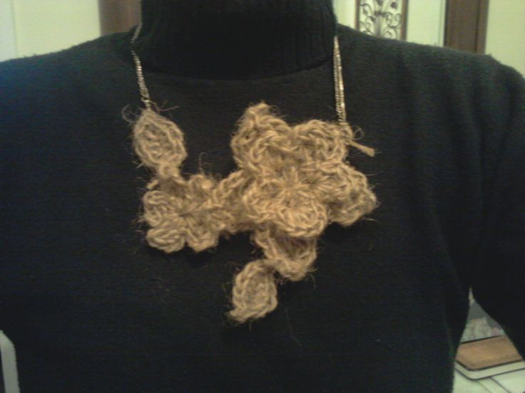 A crochet necklace made of twine!!!