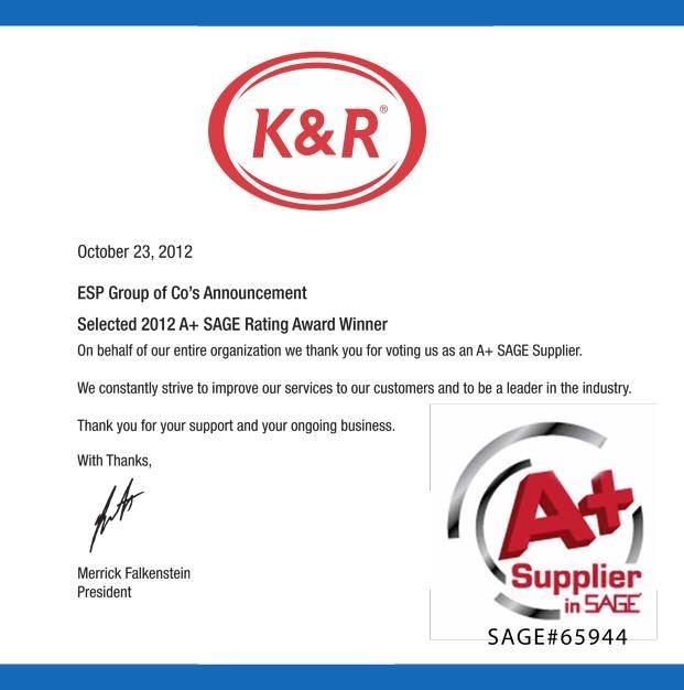 2012 A+ SAGE Supplier