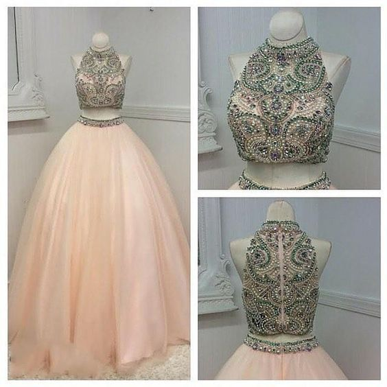 Upd0162, Prom Dresses Montreal, 2017, Two Pieces Prom Dresses, Real Photos, Beading, Crystals Pearls, Pink, Tulle, Ball Gown, Quinceanera Dresses, With Zipper, Cheap Prom Dress