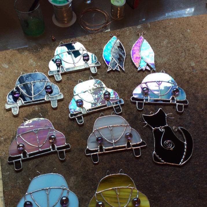 Car VW Beetle Stained Glass Suncatcher Hippie Classic Car Vintage Retro Teal Car Love Bug Father Birthday Route 66 Original Design©