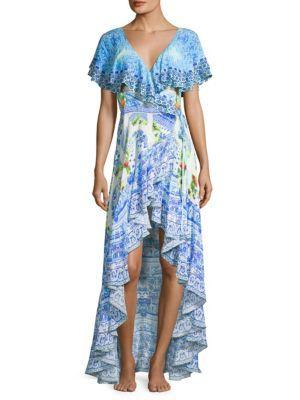 CAMILLA Frill-Sleeve Long Silk Dress. #camilla #cloth #