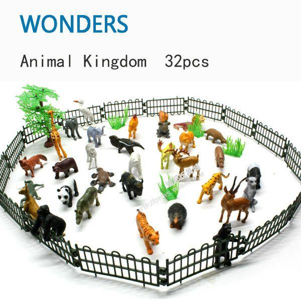 Plastik kecil hewan Simulasi kebun binatang 32 pcs/set yang mengandung padat berbagai jenis pagar Animales mainan untuk anak-anak anak