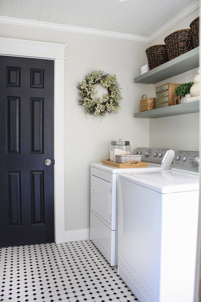 Gorgeous Neutral Laundry Room Love The Black Door And Craftsman Style Casing