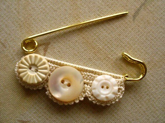 pin with buttons and lace