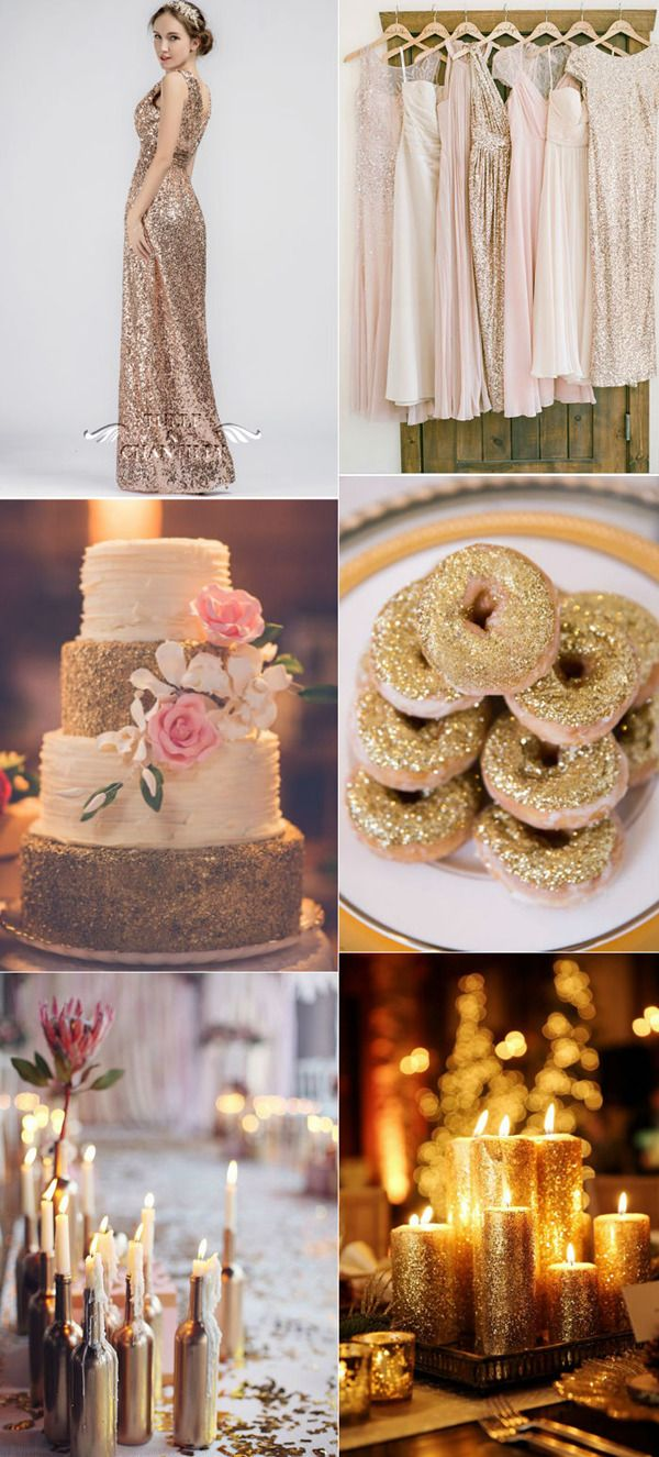 wonderful sparkle gold wedding ideas / http://www.tulleandchantilly.com/blog/2016-wedding-color-trend4-most-loved-metallic-color-palettes/