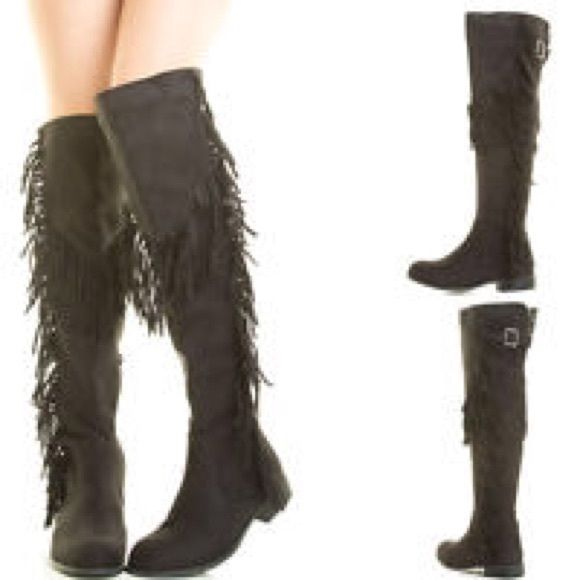 NWT Black Fringe Over Knee Suede Boots FINAl These Boots are Gorgeous! Faux soft suede over knee flat sole riding boot! Easy pull on and comfort! Top Flap can fold down to fit at knee. Price is Firm. Sale for New Year. Buy only Shoes Over the Knee Boots