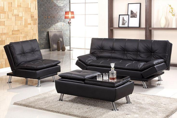 www.eFurnitureHouse.com - Delanna Black Bycast Leather Futon Sofa Bed, $562.19 (http://www.efurniturehouse.com/delanna-black-bycast-leather-futon-sofa-bed/)