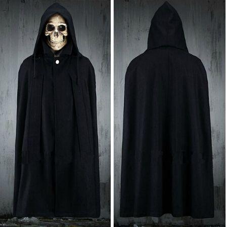 Hommes Top Fashion bouton en métal noir Long manteau à capuchon manteau élégant gothique tranchée manteau