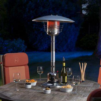 The #Sirocco tabletop #patio #heater has is designed to completely compliment your #garden setting while providing #warmth on cool summer evenings. This heater has a snap on hose connector for quick and easy release and Piezo ignition for easy lighting. Other features include a protective flame screen guard, anti tilt (safety pilot assembly). #hgp