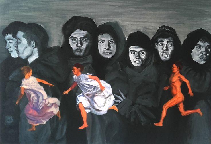 """""""Corriendo en la playa"""", homenaje a Joaquín Sorolla. Acrílico sobre cartón entelado. (2016)"""