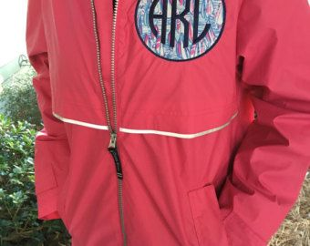 Monogrammed Rain Coat Jacket Womens Personalized Coral Monogram Charles River