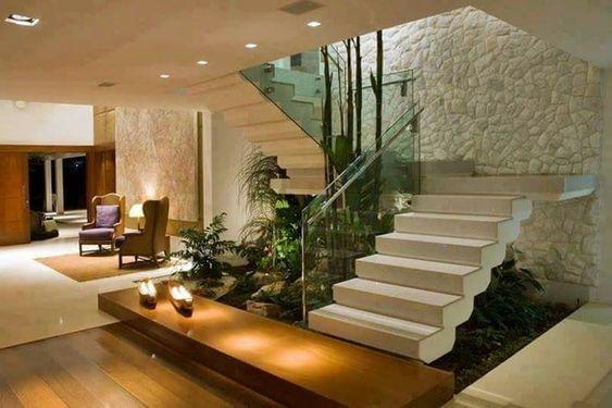 Escaleras modernas de concreto, con vidrio templado, de ...