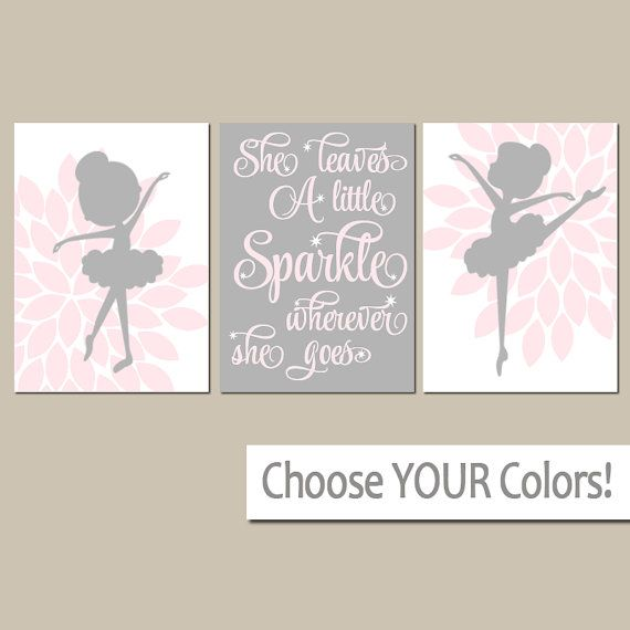 Ballerina Wall Art Flower Canvas Or Prints She Leaves A Little Sparkle Quote Baby Nursery Decor Set Of 3 Boys And