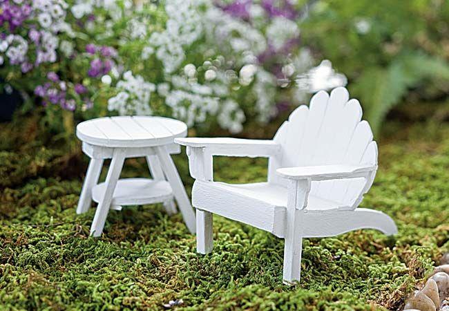Jeremie | White mini adirondack chair and table.
