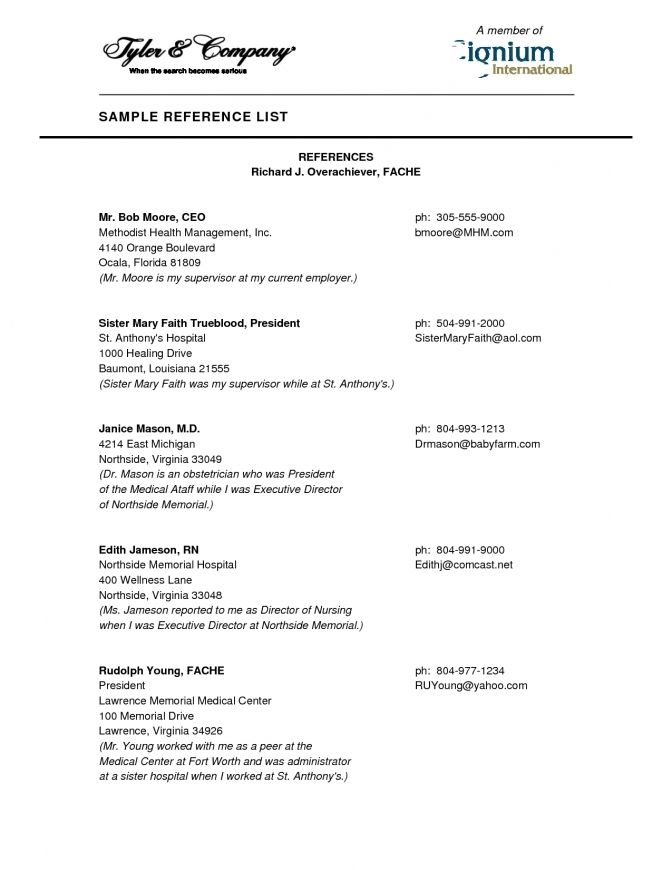 Sample Reference List For Resume Best Professional Resumes Letters