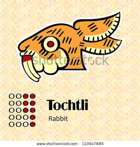 stock vector : Aztec calendar symbols - Tochtli or rabbit (8)