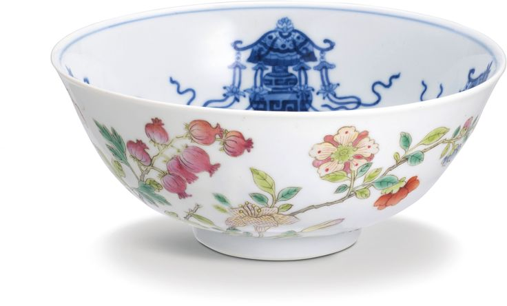 A BLUE AND WHITE AND FAMILLE-ROSE BOWL SEAL MARK AND PERIOD OF DAOGUANG.  14.6 cm., 5 3/4  in. 清道光 外粉彩萱草石榴內青花張燈圖盌 《大清道光年製》款 14.6 公分,5 3/4 英寸