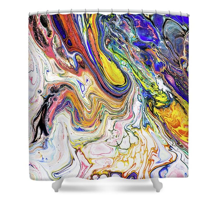 """Colorful Night Dreams 7. Abstract Fluid Acrylic Painting Shower Curtain by Jenny Rainbow.  This shower curtain is made from 100% polyester fabric and includes 12 holes at the top of the curtain for simple hanging.  The total dimensions of the shower curtain are 71"""" wide x 74"""" tall."""
