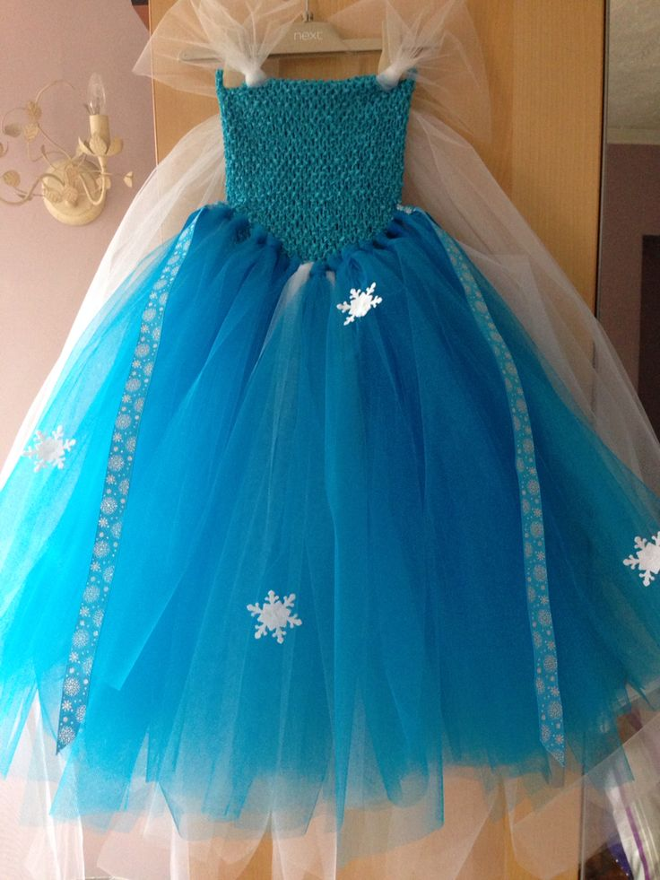 Elsa frozen tutu dress. DIY homemade. No sew. £30