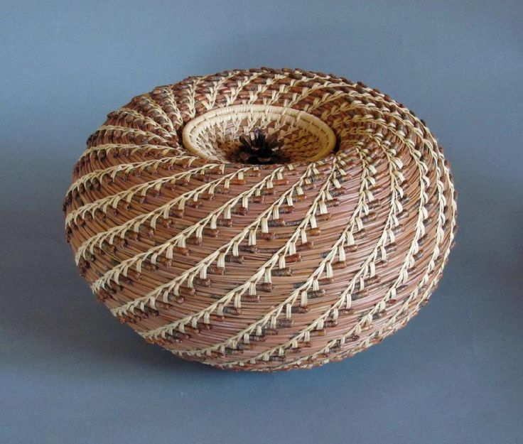 pine needle basket lid | round vessel with lid coulter pine needles raffia pine cone 10 w x 6 5 ...