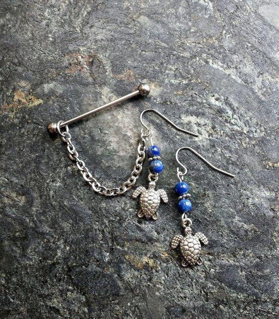 Turtle  Lapis Lazuli  Scaffold Industrial by FeatherBlueJewelry #piercings #piercing #industrial #barbell #scaffold #earrings #bodyjewelry #industrialpiercing #industrialbarbell #scaffoldpiercing